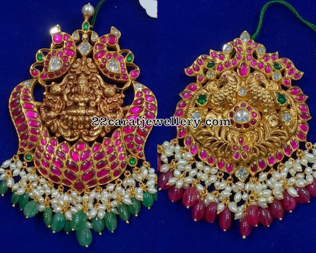 Nakshi Kundan Pendants with Rice Pearls