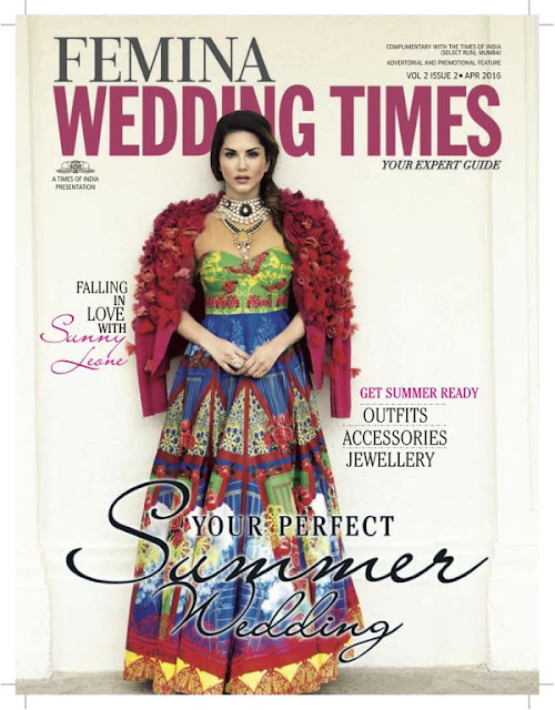 Sunny Leone On The Cover Of Femina's Wedding Times Magazine April 2016 Issue