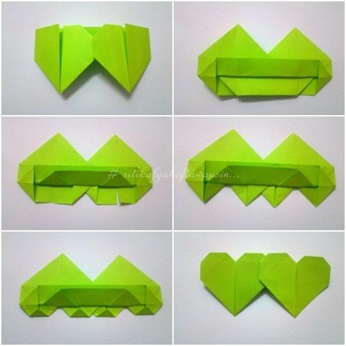 cara buat origami double heart double love  Siti Kektus
