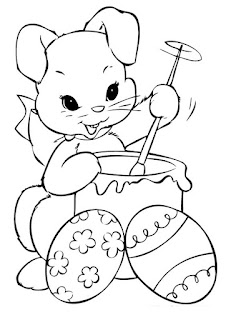 desenho de coelhinha fazendo ovos de pascoa