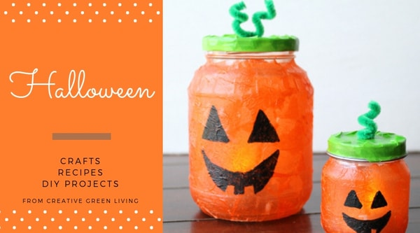 Halloween  crafts, recipes, DIY projects from Creative Green Living - recycled jack o lantern jar craft