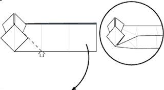 Bước 10: Từ vị trí mũi tên trắng, mở ra và kéo giấy xuống dưới