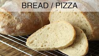 Image of a pan of slices of artisan bread, a recipe index link to Bread / Pizza page.