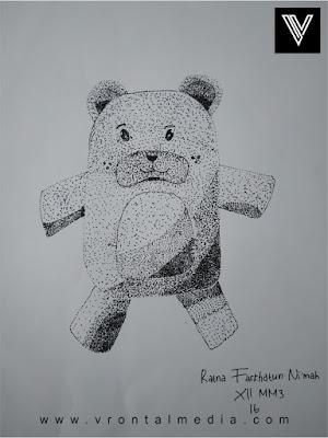 contoh gambar pointilis boneka