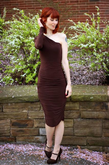 8e86748953cee9 FemmLuxeFinery.co.uk Brown One Shoulder Ruched Slinky Midi Dress - Savannah