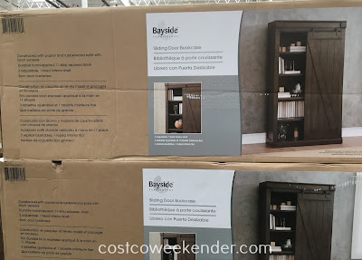 Costco 1074722 - Bayside Furnishings Sliding Door Bookcase - Rustic look with modern functionality