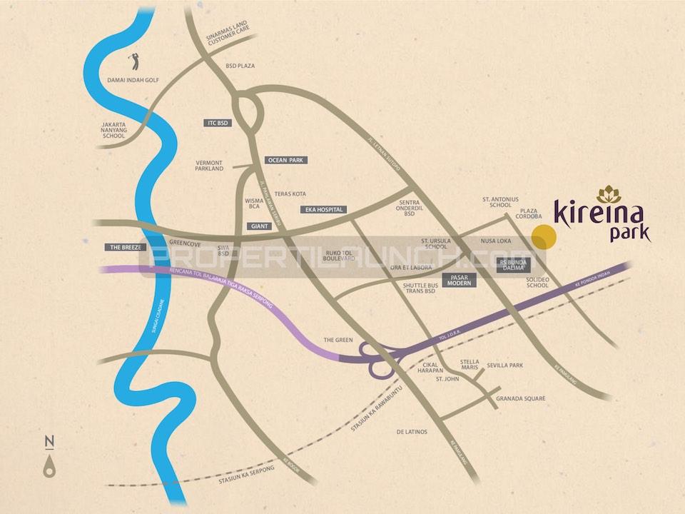 Peta Lokasi Cluster Kireina BSD City