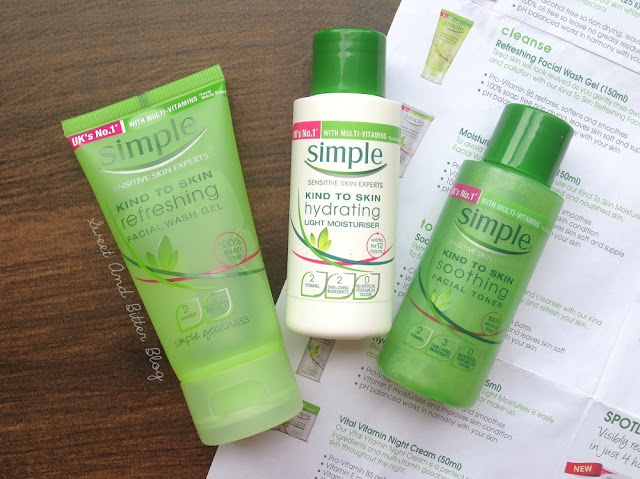 Simple Kind To Skin Refreshing Facial Wash Gel, Soothing Facial Toner, Hydrating Light Moisturiser