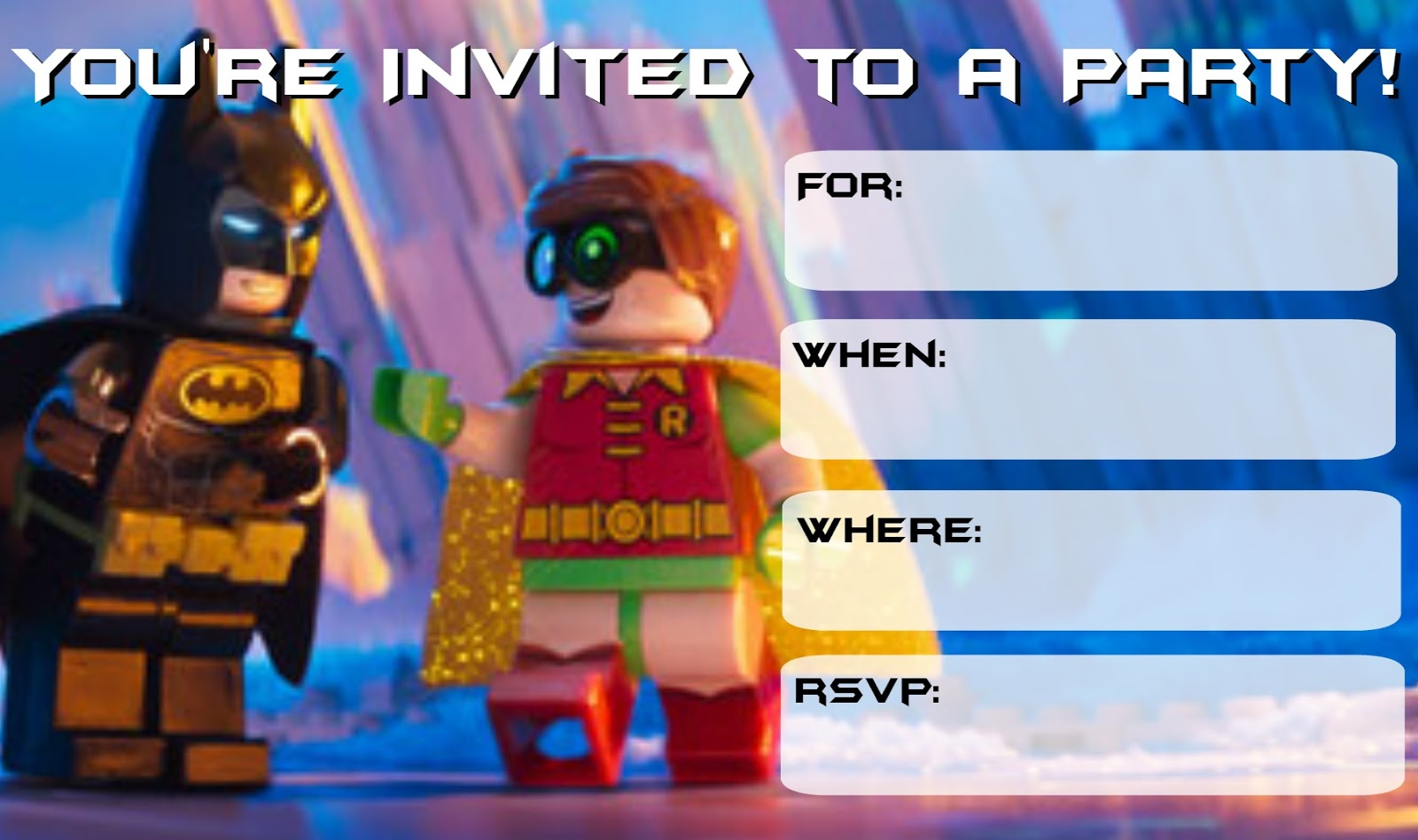 Musings of an Average Mom: More Lego Batman Party Invitations