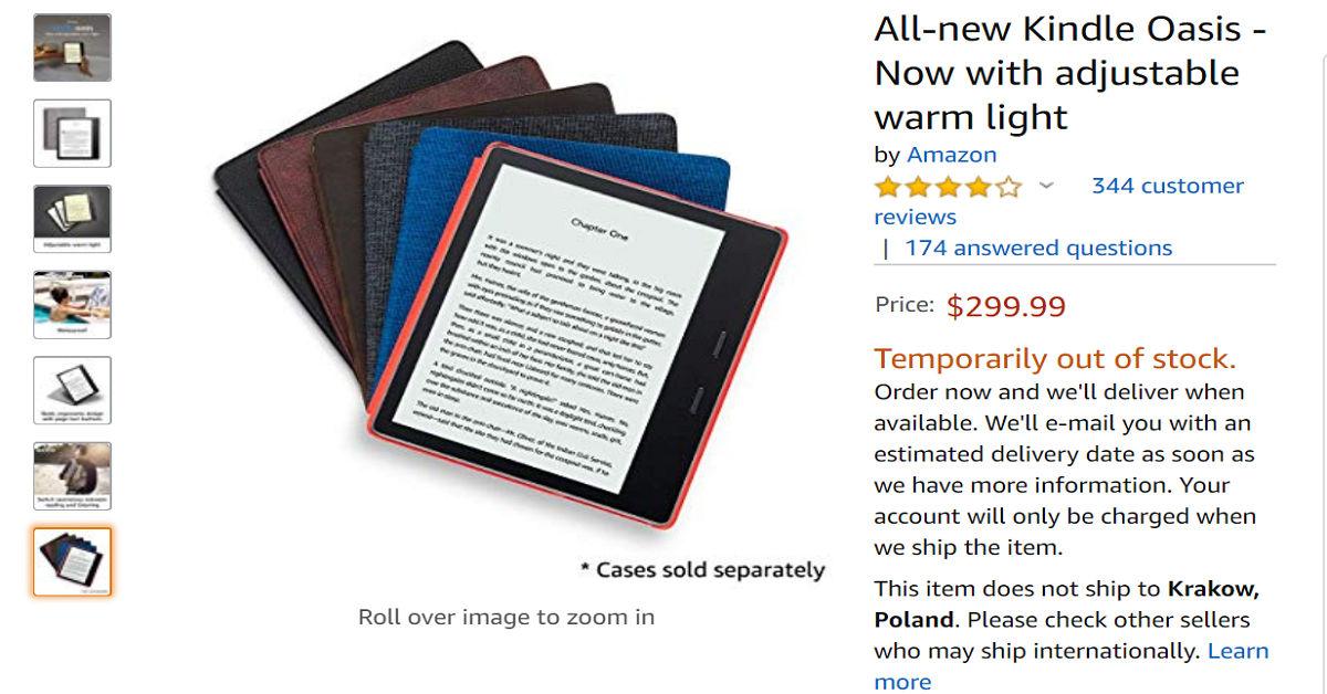 Kindle Oasis 3 z 32 GB pamięci czasowo niedostępny w Amazon.com