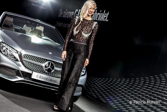 Lynn Quanjel in front of Mercedes-Benz C-klasse Cabriolet at Fashion Week Amsterdam