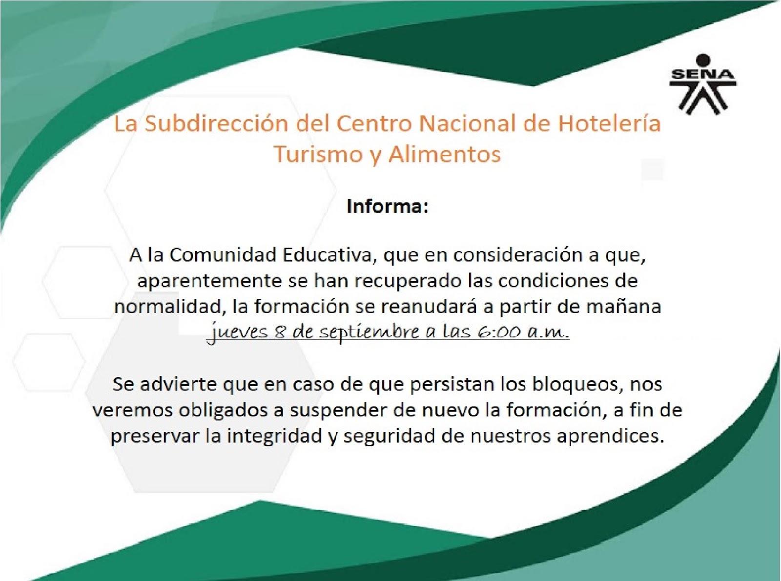 SENA - Centro Nacional de Hotelería, Turismo y Alimentos: septiembre ...