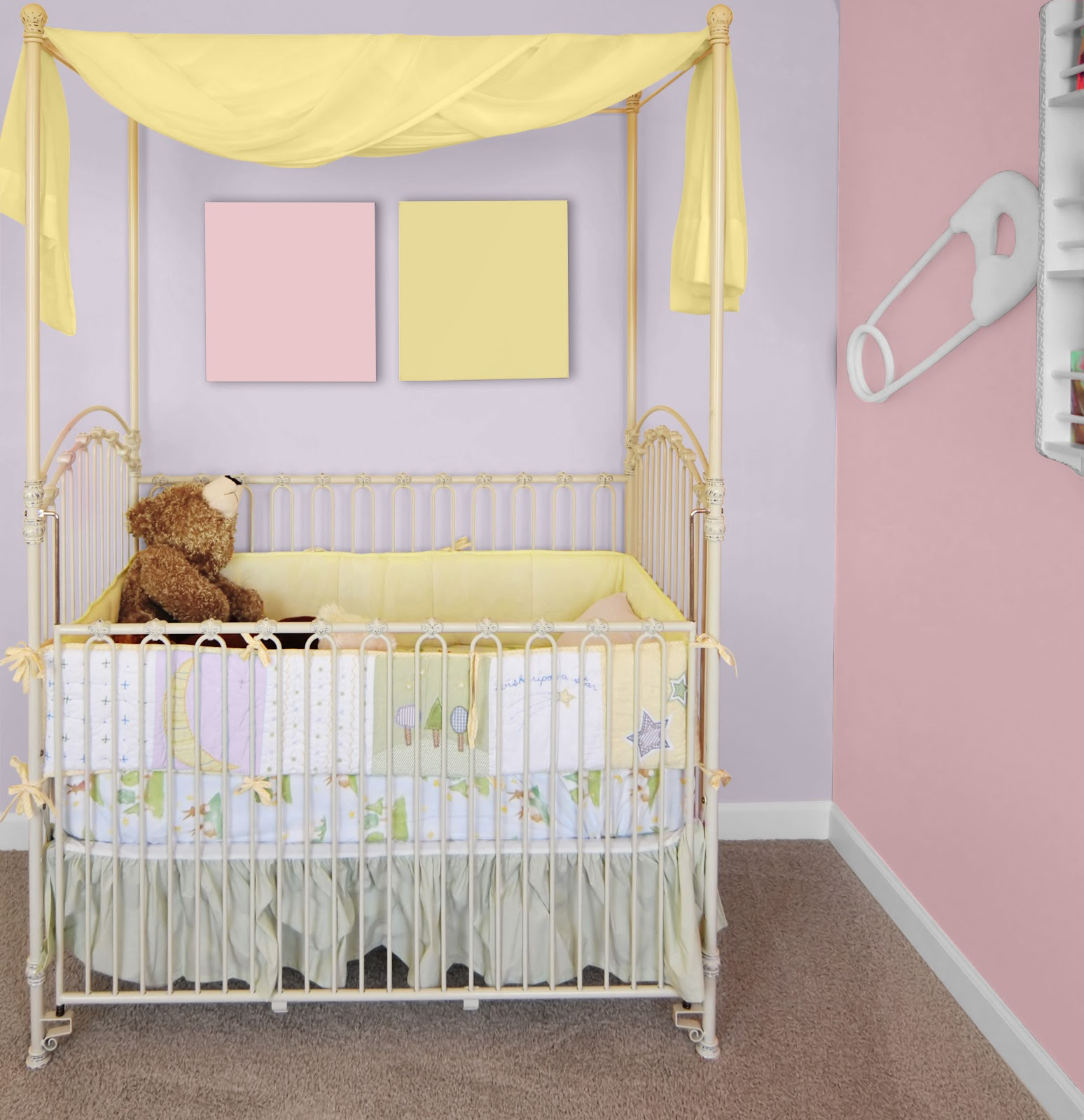 Bubblegum Pink and Iced Purple & Top 10 Baby Nursery Room Colors (And Decorating Ideas)