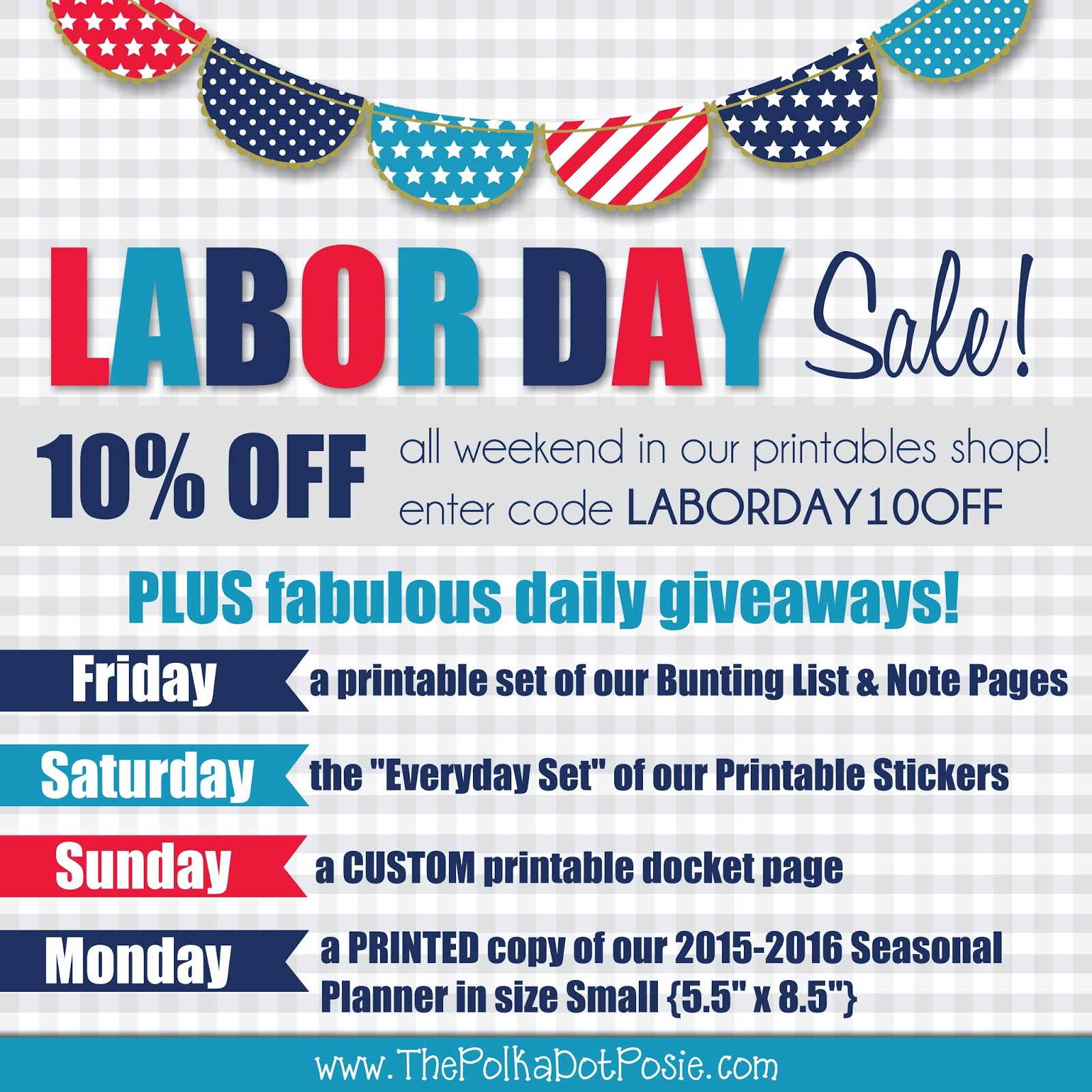 Labor Day Weekend Sale: The Polka Dot Posie: Labor Day Weekend SALE & Giveaways