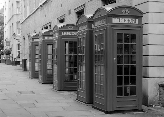 old fashioned telephone boxes