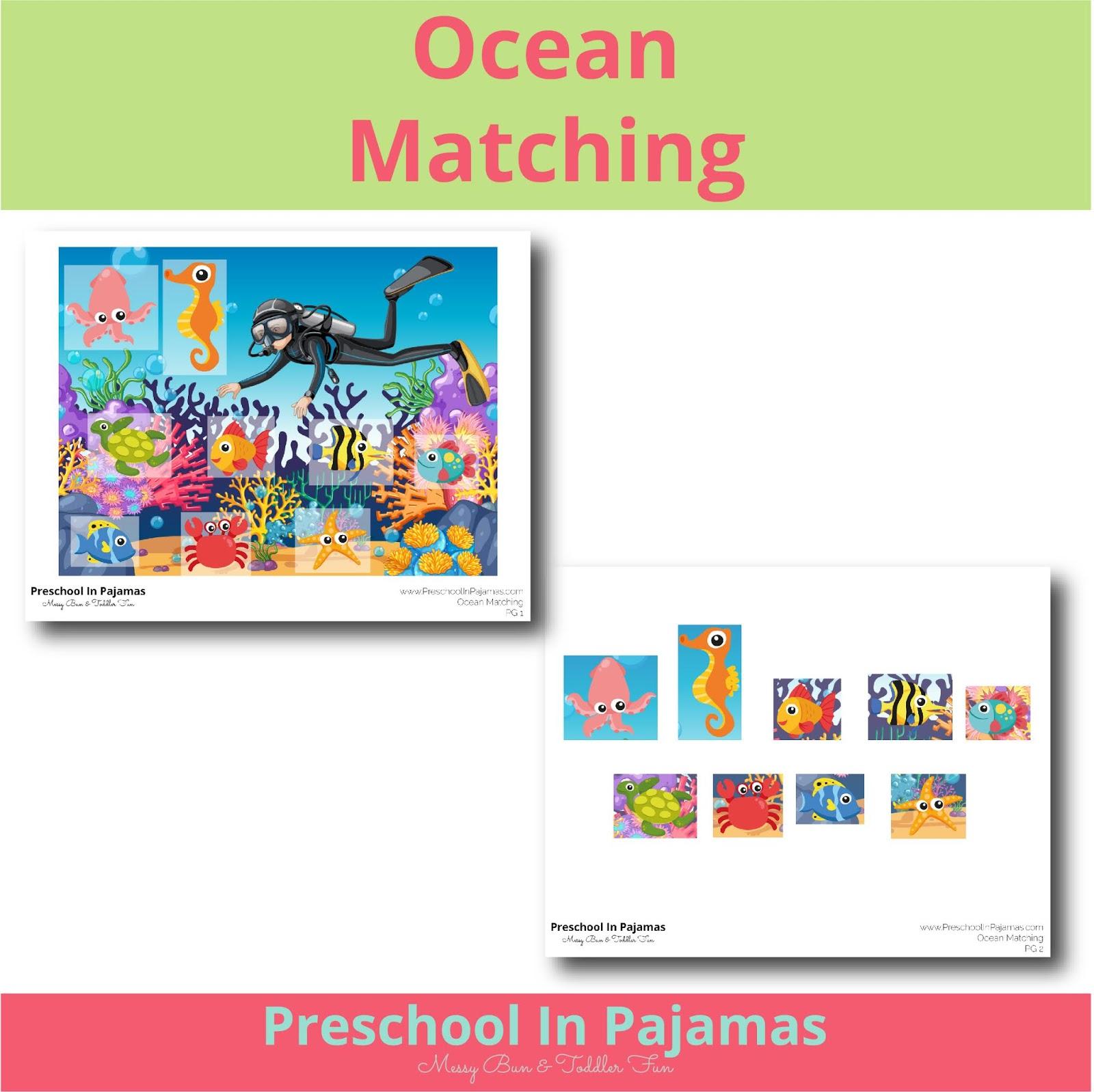 Free Ocean Matching Printable Game
