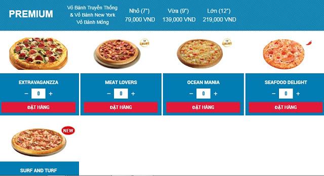giá bánh domino pizza premium