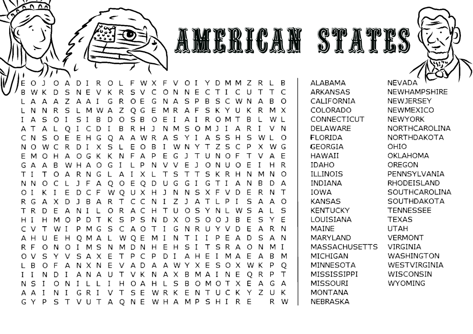 Favour In Fun American States Word Search