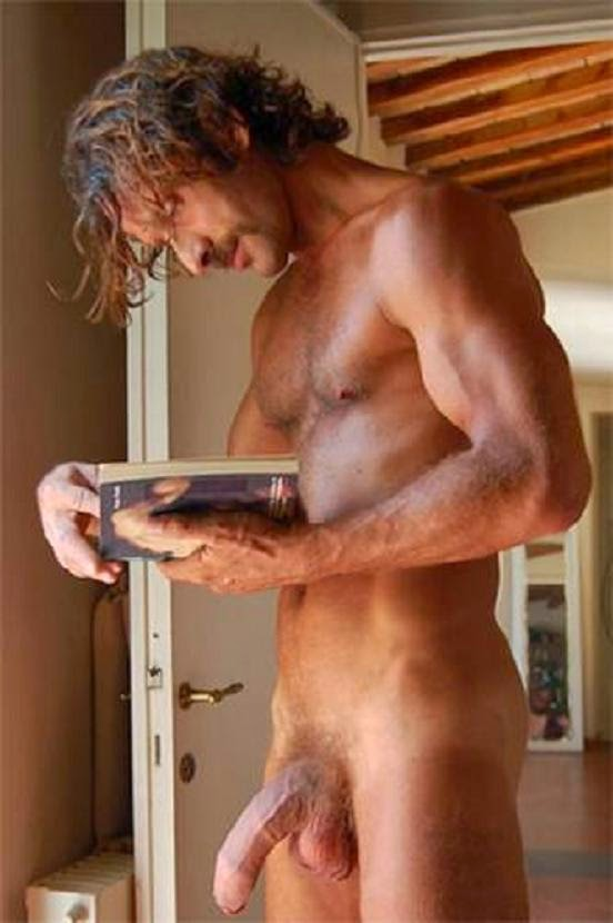 guy reading book Naked