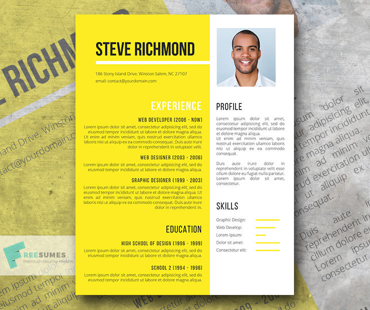 Download Template CV Word 100% Gratis - Sunny Valley | A Shiny Yellow Free Resume Template for Word