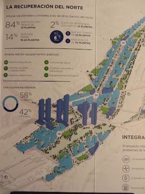 Proyecto Distrito Castellana Norte, 2015, perspectiva ordenación de volúmenes (azul oscuro, oficinas; azul claro, residencial)
