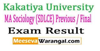 Kakatiya University MA Sociology (SDLCE) Previous / Final Oct 2016 Exam Results