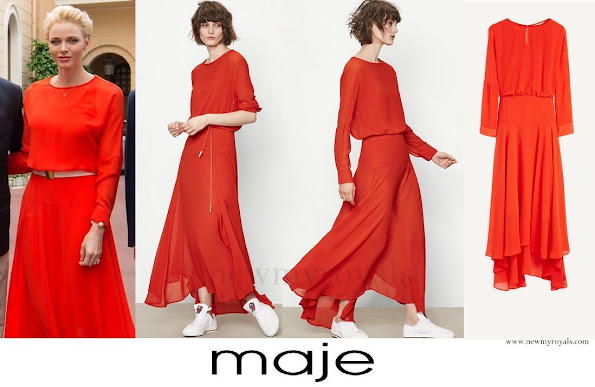 Princess Charlene wore Maje Red Long dress. The Red Long dress retails for £213.5 on the MAJE website.