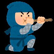 吹き矢を吹く忍者のイラスト