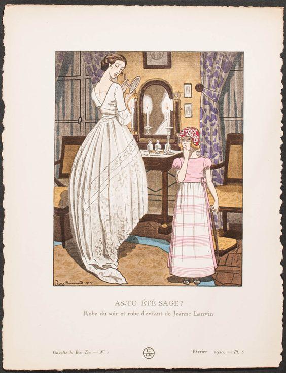Robe du soir par Lanvin, gravure de mode