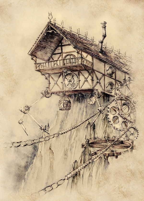 06-Steampunk-House-Elwira-Pawlikowska-Gothic-and-Steampunk-style-Architecture-with-Ink-and-Watercolor-Illustrations-www-designstack-co