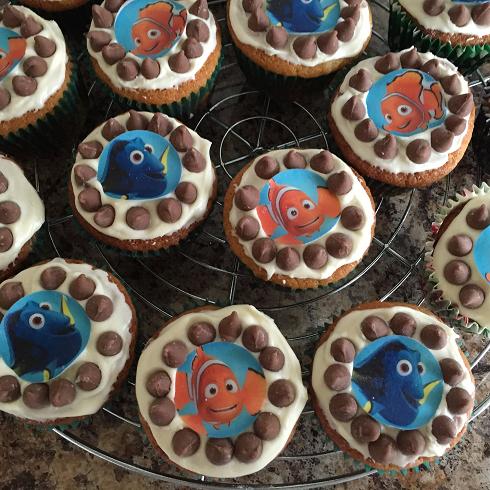 Gluten Free Vanilla Choc Chip Finding Nemo Cupcakes