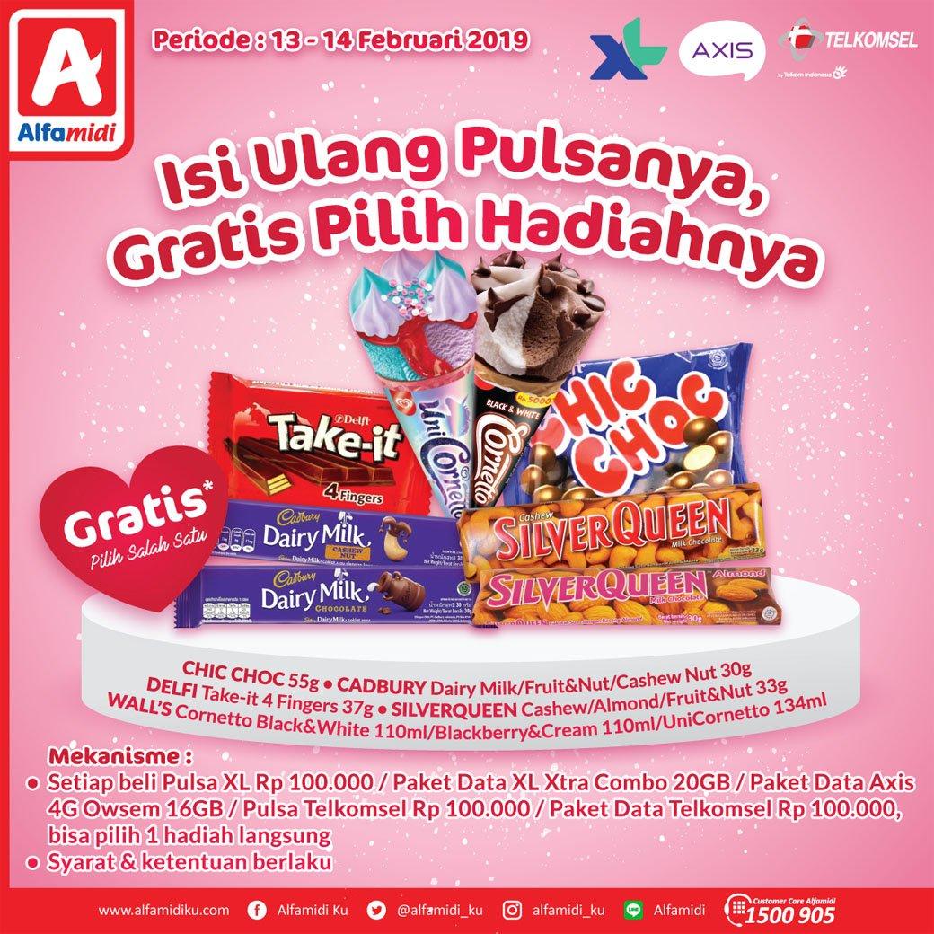 #Alfamidi - #Promo Isi Ulang Pulsa XL, AXIS & Telkomsel Gratis Pilih Hadiahnya (s.d 14 Feb 2019)