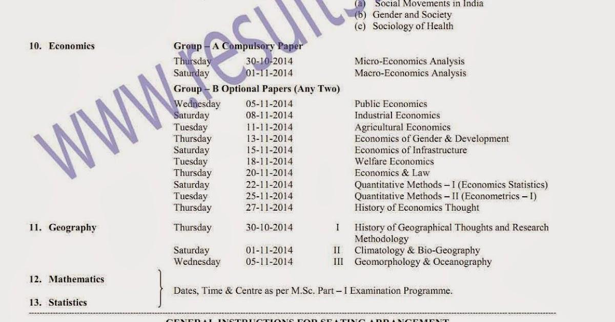 MA Part 1 Winter 2014 Timetable RTM Nagpur University