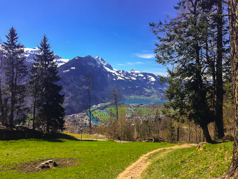 View of lakes and interlaken from hiking Harder Klum in Interlaken Switzerland