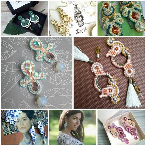 pink with tassels soutache earrings, soutache handmade jewelry