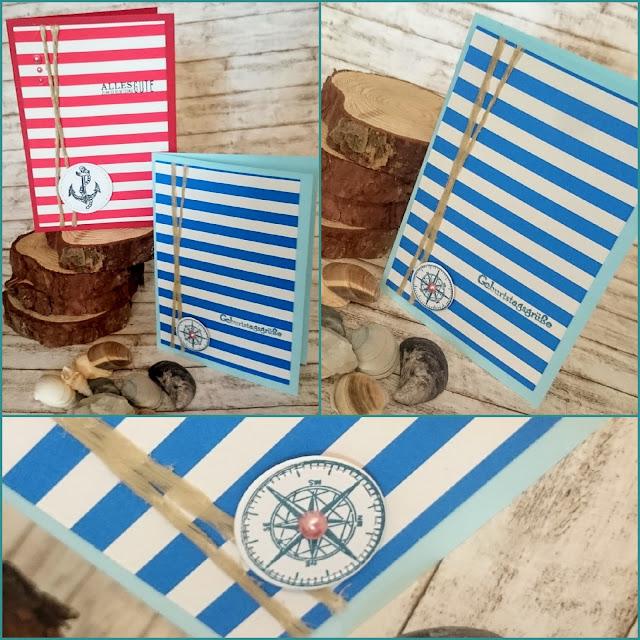 [DIY] Sea Side Birthday: Blue Stripes and compass // Maritime Geburtstagskarte mit Blauen Steifen und Kompass