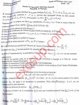 examen de mécanique quantique avancée master Tronc Commun s1 fsr 2016/2017