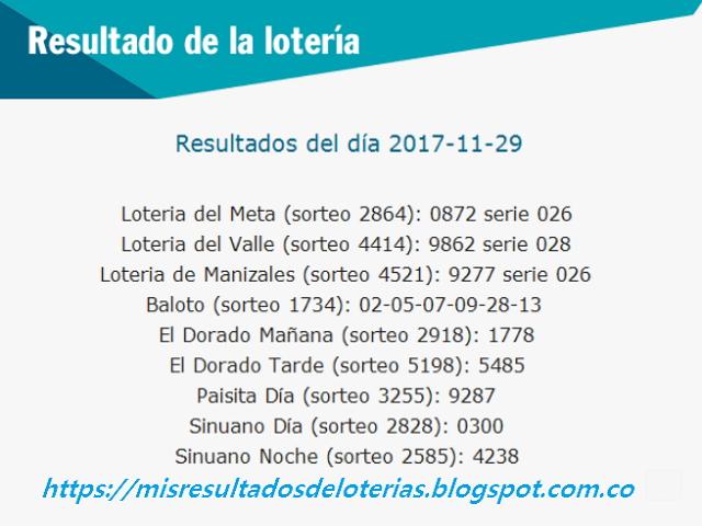 Como jugo la lotería anoche | Resultados diarios de la lotería y el chance | resultados del dia 29-11-2017