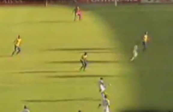 SuperSport player Mor Diouf kicks the ball from his own half to score against Sundowns
