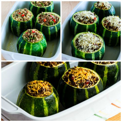 Stuffed Zucchini with Brown Rice, Ground Beef, Red Pepper, and Basil, with Variations found on KalynsKitchen.com