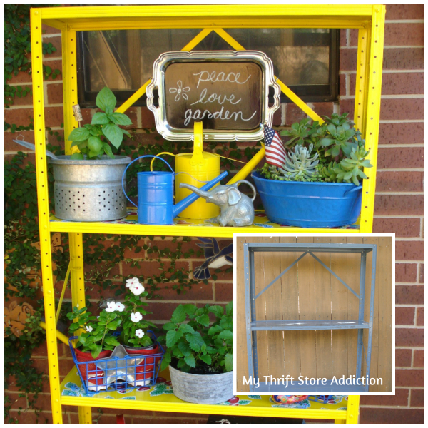 Repurposed utility shelf potting stand