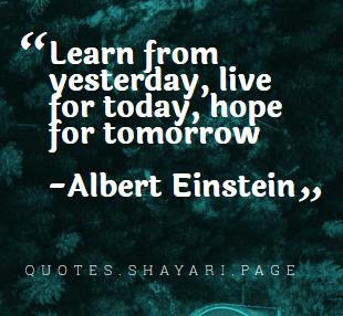 Albert Einstein Quotes- Learn From Yesterday