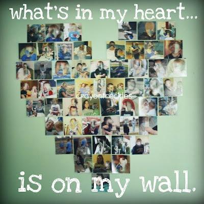 photographs, heart shape, wall