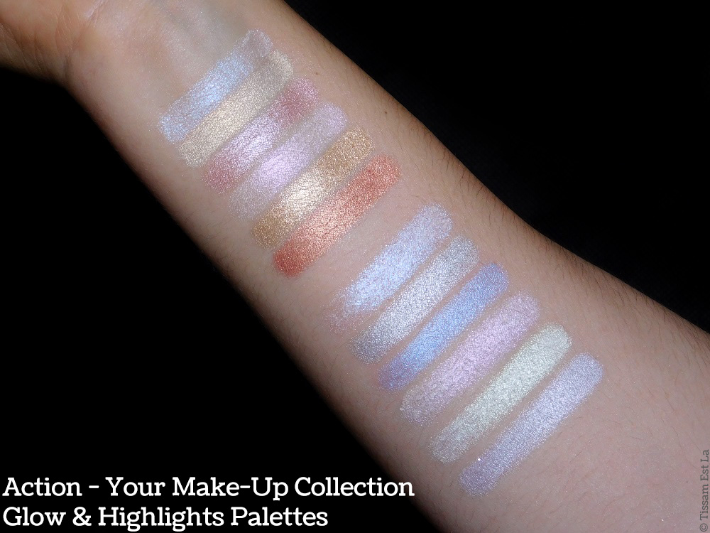 Action - Your Make-Up Collection - Glow & Highlights Palettes - Swatches & Review - Avis et Revue - Max & More Swatch