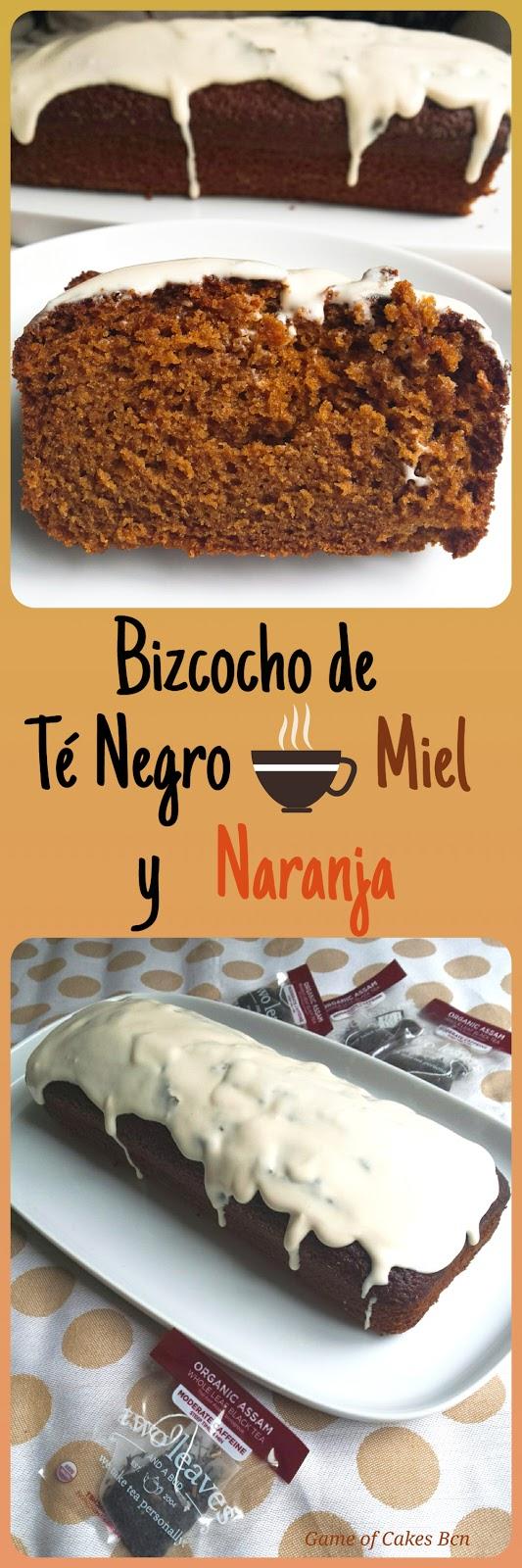 Bizcocho loaf cake de te negro, miel y naranja con glaseado de mascarpone