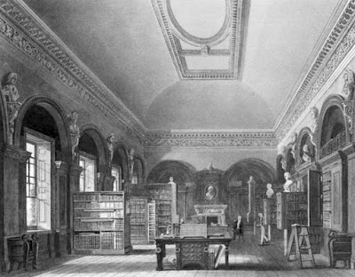 The Queen's Library  from The History of he Royal Residences by WH Pyne (1819)