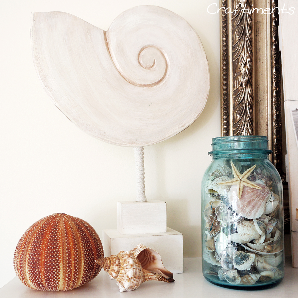 sea urchin, conch shell, mason jar of seashells