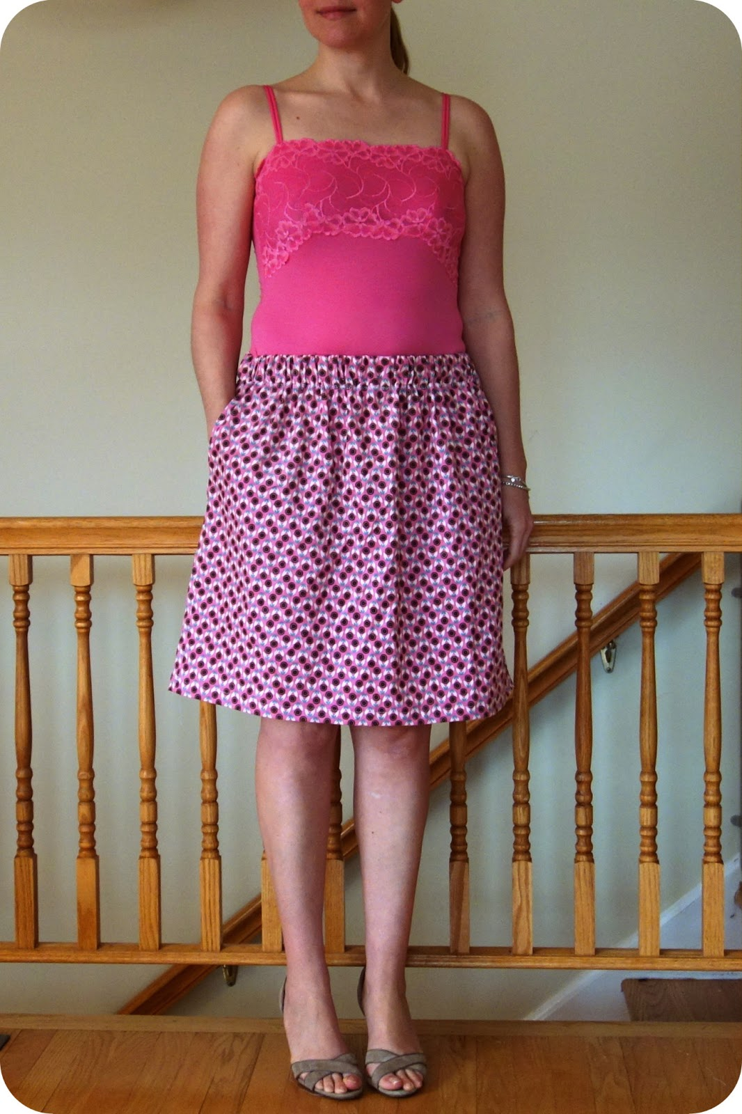 35114c08fa Here I have worn the skirt longer and on my hips. The elastic is sized for my  waist measurement, but there is more than enough give to wear it lower.