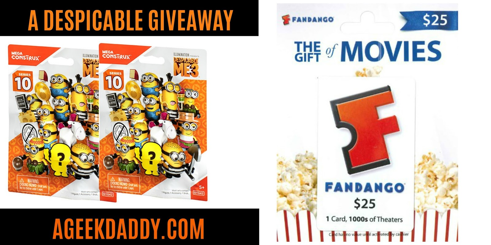 A geek daddy a despicable giveaway ill be giving away to one lucky randomly selected winner a 25 fandango gift card to xflitez Gallery