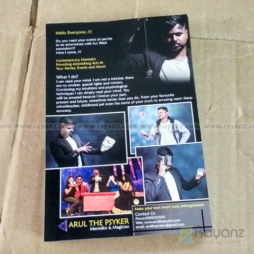 A5 Flyers Multi color offset printing sample. Available 100gsm, 130gsm and 170gsm art paper finish